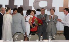 Dilma Rousseff durantes encontro com representantes de igrejas evangélicas nesta quarta