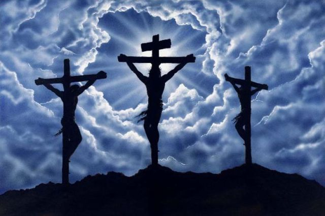 Jesus crucificado com o bom e o mau ladrão.